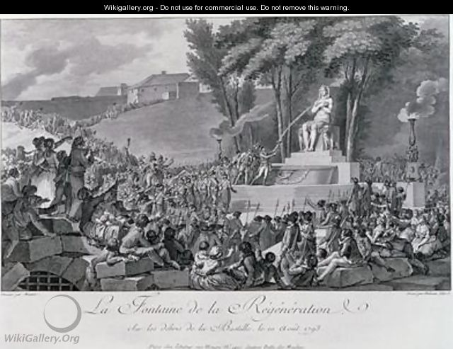 The Fountain of Regeneration over the Ruins of the Bastille - (after) Monnet, Charles