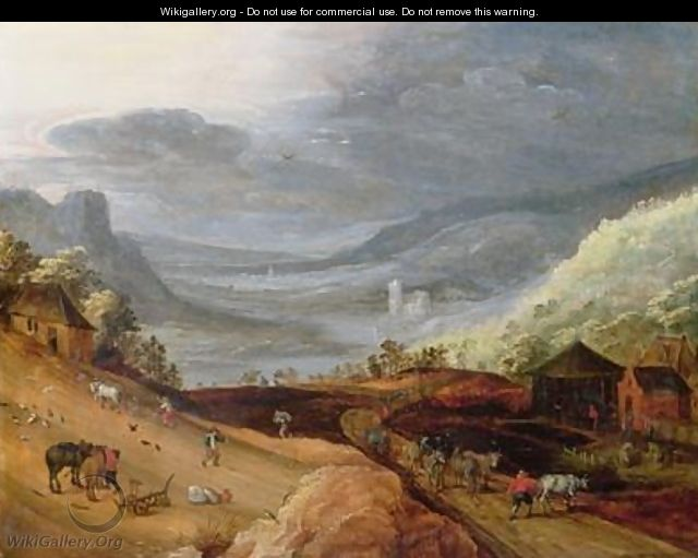 Rural Landscape with a Farmer Bridling Horses a Ploughman a Sower and a Drover driving Cattle - Joos or Josse de, The Younger Momper