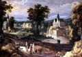 Figures in a landscape with village and castle beyond - Joos or Josse de, The Younger Momper