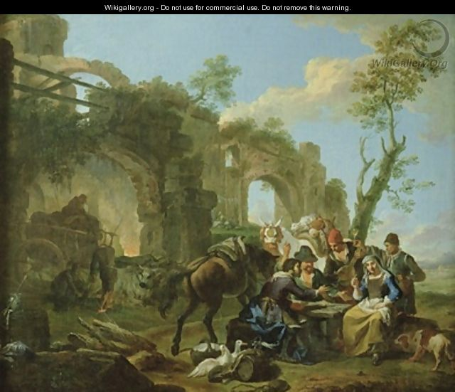 Horsemen Resting among Classical Ruins with a Fortune Teller - Paolo Monaldi