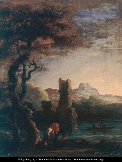Landscape with tower figures and boat - Jan de Momper