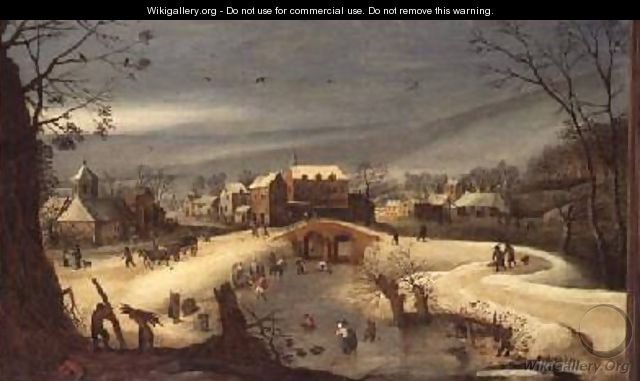 A Winter Landscape with Woodcutters - (follower of) Momper, Joos de