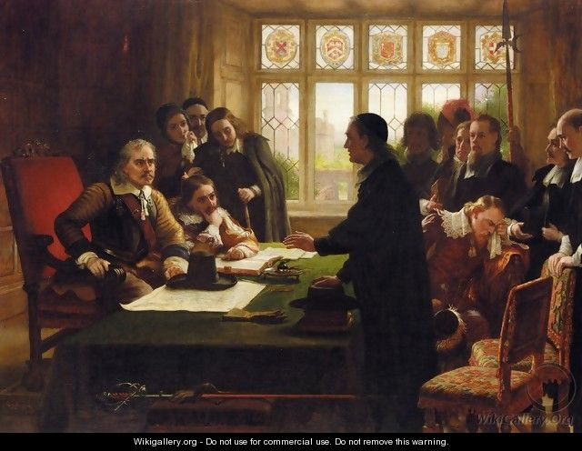 Oliver Cromwell and His Secretary John Milton, Receiving a Deputation Seeking Aid for the Swiss Protestants - Charles West Cope