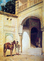 Rider at the entrance of a house - Alberto Pasini