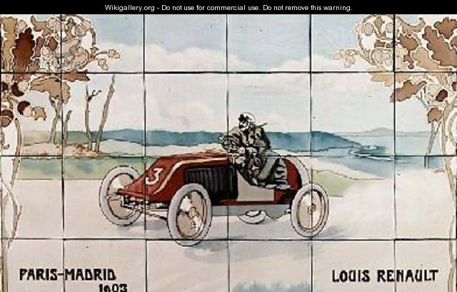Louis Renault driving in the Paris to Madrid race of 1903 - Ernest Montaut