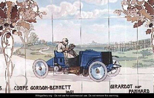 Girardot driving a Panhard car in the Gordon Bennet Cup of 1901 - Ernest Montaut
