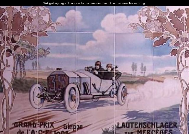 Lautenschlager driving a Mercedes car in the French Grand Prix of 1908 in Dieppe - Ernest Montaut