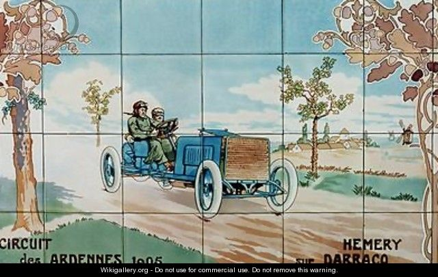Hemery driving a Darracq car in the Circuit des Ardennes of 1905 - Ernest Montaut