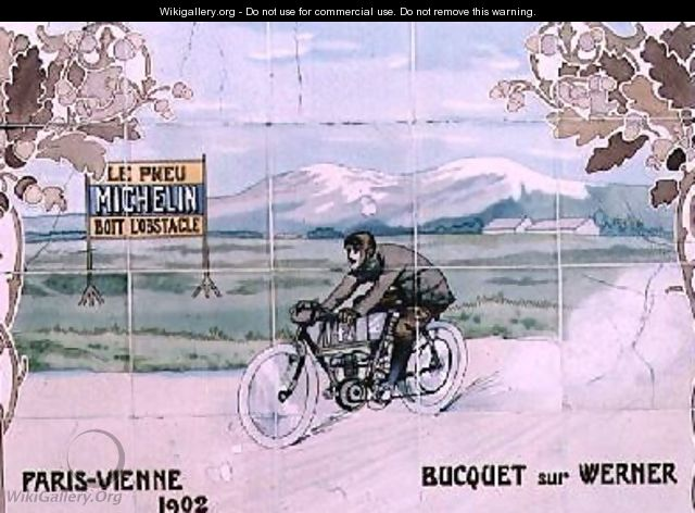 Bucquet riding a Werner motorcycle in the Paris to Vienna race of 1902 - Ernest Montaut