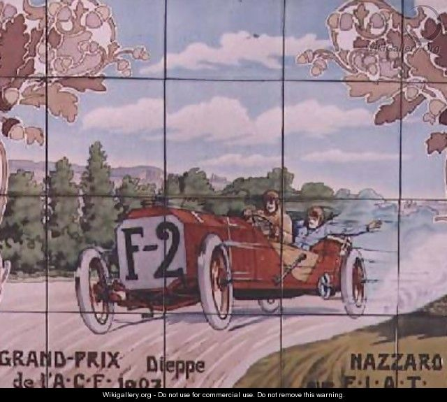 nazzaro driving a fiat car in the french grand prix of 1907 at dieppe ernest montaut. Black Bedroom Furniture Sets. Home Design Ideas