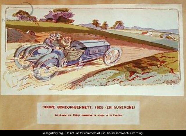 The Richard-Brasier car driven by Leon Thery during the Gordon-Bennett race in the Auvergne in 1905 1910 - Ernest Montaut