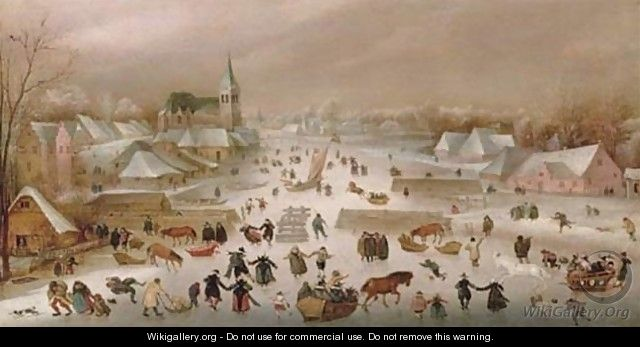 A Winter Landscape With Skaters On A Frozen River 2 - Abel Grimmer