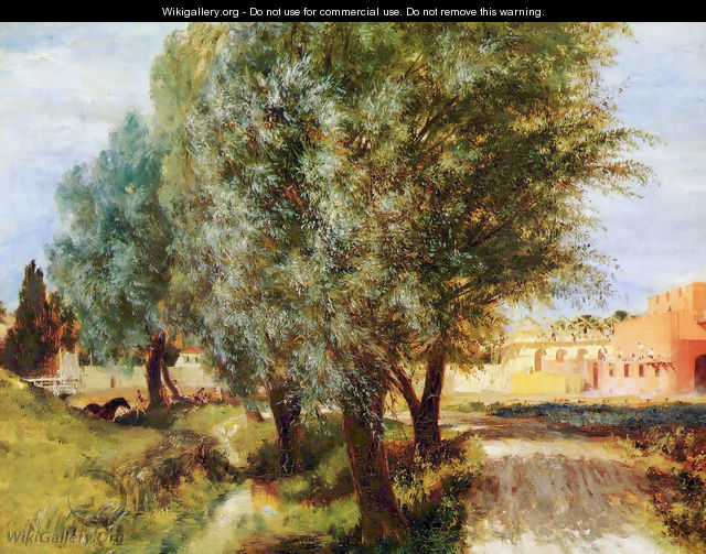 Construction site with willows - Adolph von Menzel