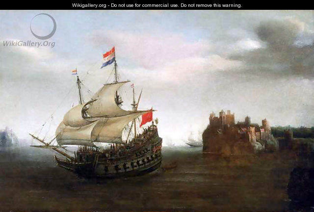 A Castle with a Dutch Ship Sailing Nearby - Cornelis Hendricksz. The Younger Vroom