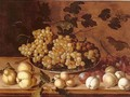 Still-life, Peaches, plums, pears and grapes - Balthasar Van Der Ast