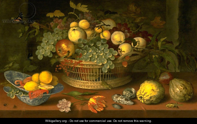Still Life with a Basket of Fruit - Balthasar Van Der Ast