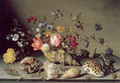 Still Life with Flowers, Shells and Insects - Balthasar Van Der Ast