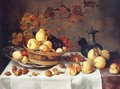 A Still Life of Pears, Peaches, Grapes and Quinces in a Basket - Balthasar Van Der Ast