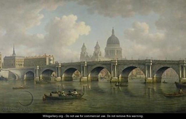 Blackfriars Bridge and St Pauls Cathedral - William Marlow