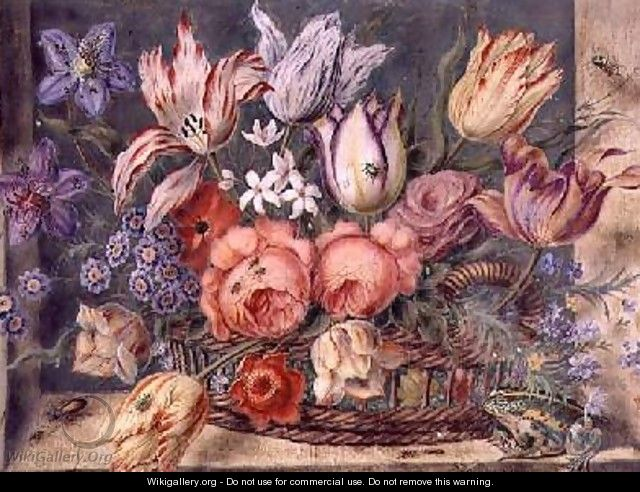 Flowers in a Basket with Frogs and Insects 1634 - Jacob Marrel