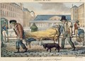 An invalid being carried to the hospital from the Tableaux de Paris series 1820 - Jean Henri Marlet