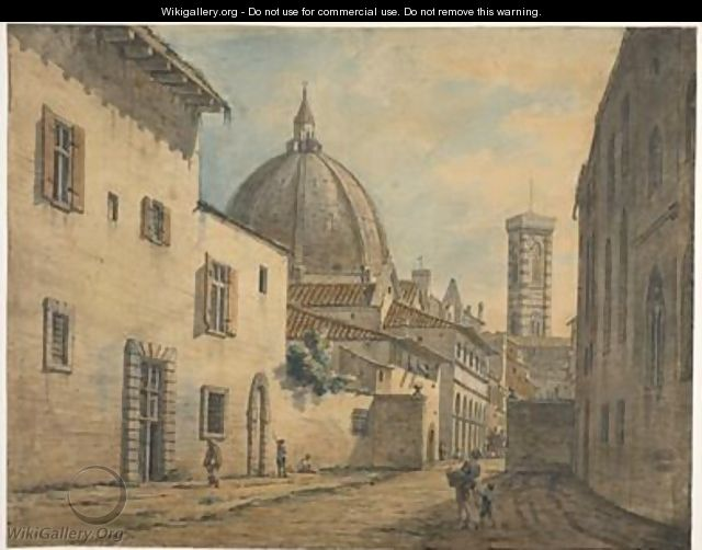 A Street in Florence with the Duomo and Campanile in the Background - William Marlow