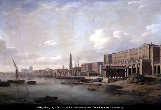 The Adelphi and the York Water Tower from the Thames 1775 - William Marlow