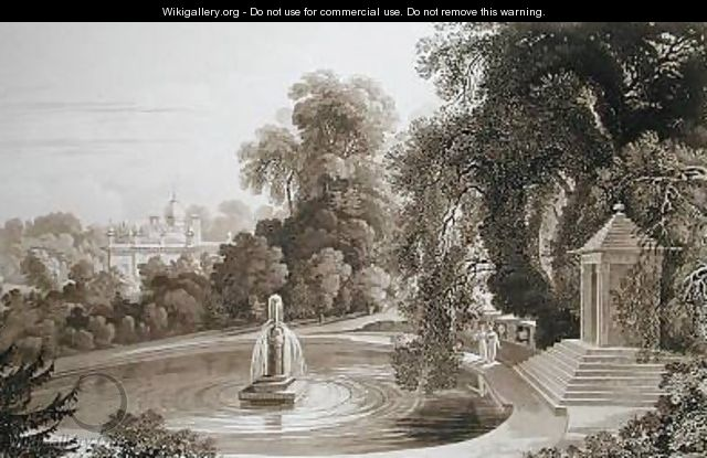 View of the Temple of Suryah and the Fountain of Mahah Doo with a distant view of the north side of the Mansion House - John Martin