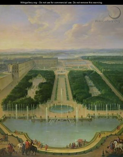 Perspective view of the chateau of Versailles seen from the Neptune Fountain 1696 - Jean-Baptiste Martin