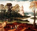 An extensive wooded river landscape with St John the Baptist preaching - Cornelis Massys