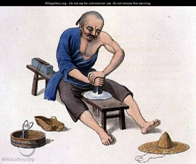 An Old Man Polishing Crystals - (after) Mason, Major George Henry