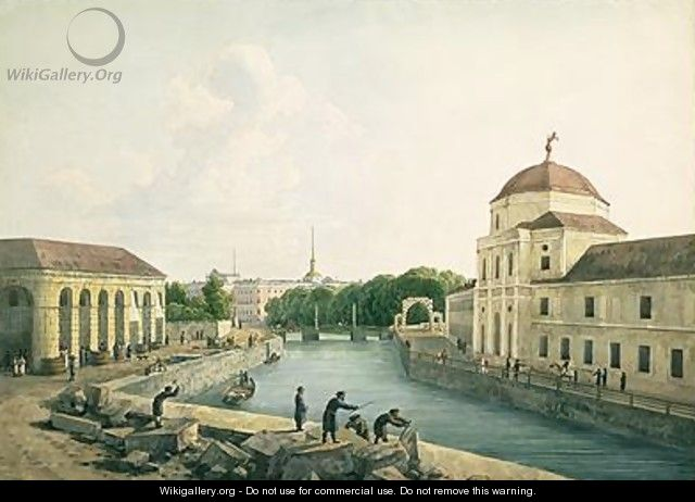 View of the Moika River by the Imperial Stables 1809 - Andrei Yefimovich Martynov