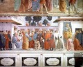 The Raising of the Son of Theophilus the King of Antioch and St Peter Enthroned as First Bishop of Antioch 1427 and 1480 - T. & Lippi, F. Masaccio