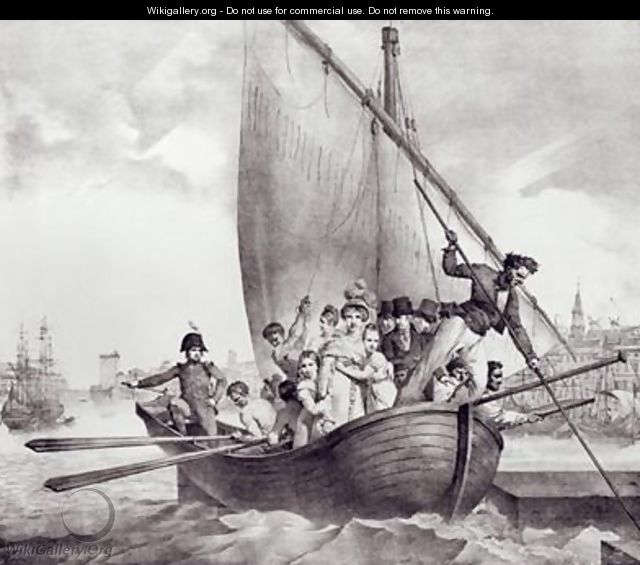 Bonaparte family arriving in Toulon France when fleeing from Corsica 17 June 1793 - Jean Baptiste Mauzaisse