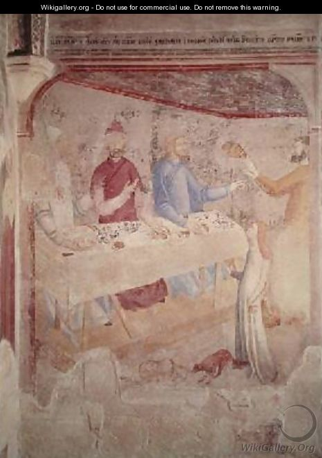 Herods Feast scene from The Life of St John the Baptist Cycle in the Chapel of St Jean 1346-48 - di Giovanetto da Viterbo Matteo