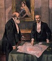 Anglo French Convention signed in London by Paul Cambon 1843-1924 the French Ambassador and Lord Salisbury 1830-1904 the British Prime Minister from Le Petit Journal 9th April 1899 - Tofani, Oswaldo Meaulle, F.L. &
