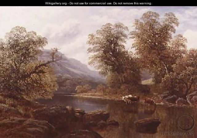 Landscape with a River and Cattle - William Mellor