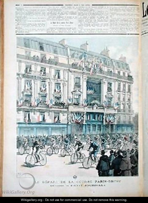 The start of the Paris Brest bicycle race in front of the offices of Le Petit Journal - Fortune Louis Meaulle