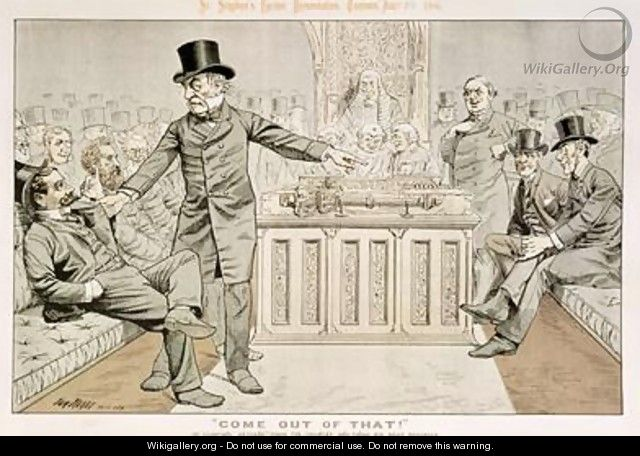 Come Out of That Mr Gladstone Returns from the Country and Finds his Seat Occupied from St Stephens Review Presentation Cartoon 7 August 1886 - Tom Merry