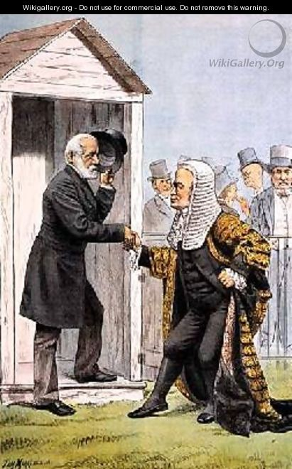 Goodbye to Judge Clark from St Stephens Review Presentation Cartoon 8 Dec 1888 - Tom Merry