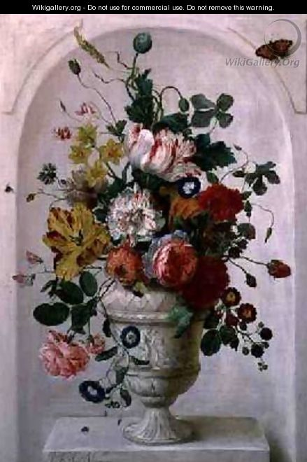 An Urn of Flowers in an Alcove - Jan Frans Josephus Mertens