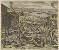 The massacre of the settlers in 1622 plate VII from America Part XIII - Matthäus the Elder Merian