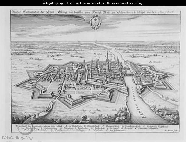 View of Elbing in 1626 fortified by the protestant Swedes from Theatrum Europaeum - Matthäus the Elder Merian