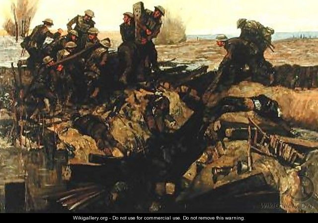 Canadians repairing a track under shell fire 1919 - Innes Meo