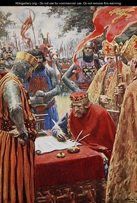 King John signing the Magna Carta reluctantly - A.C. Michael