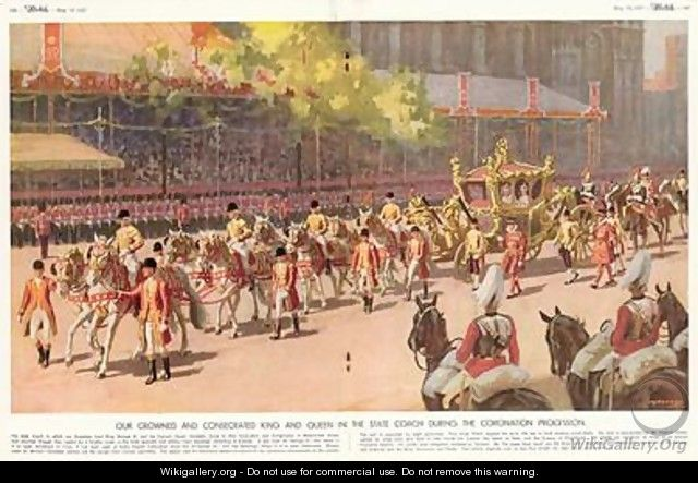 Our Crowned and Consecrated King and Queen in the State Coach During the Coronation Procession on 12th May 1937 from The Sketch 19th May 1937 - A.C. Michael