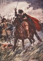 Through their ranks rode Wallenstein drawn sword in hand illustration from A History of Germany - A.C. Michael