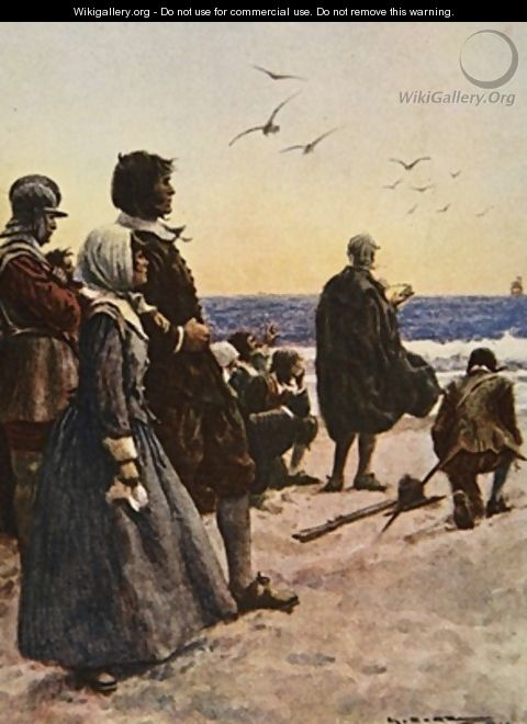 The Departure of the Mayflower illustration from This Country of Ours The Story of the United States - A.C. Michael