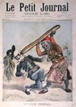 Caricature of Francesco Crispi 1818-1901 and the defeat of the Italian invading army at the siege of Makalle Ethiopia cover of Le Petit Journal 9th February 1896 - Henri Meyer