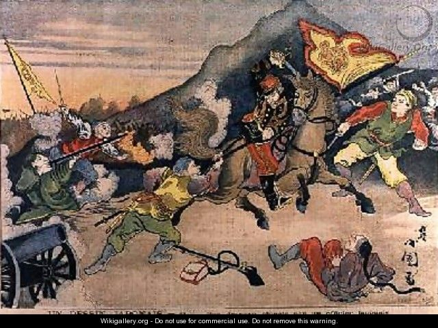 The Taking of the Chinese Flag by a Japanese Officer from Le Petit Journal October 1894 - Henri Meyer